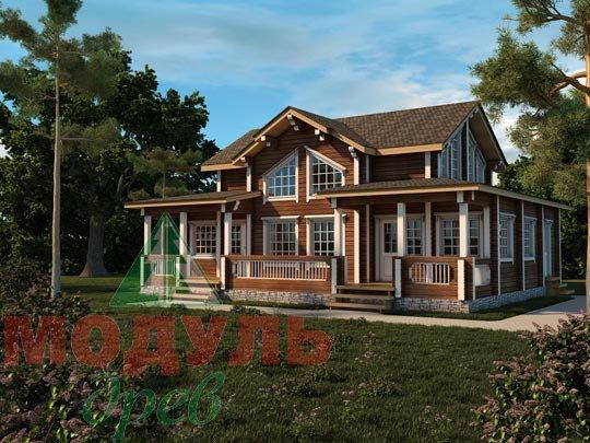 Загородный деревянный дом из бруса «Никольский»