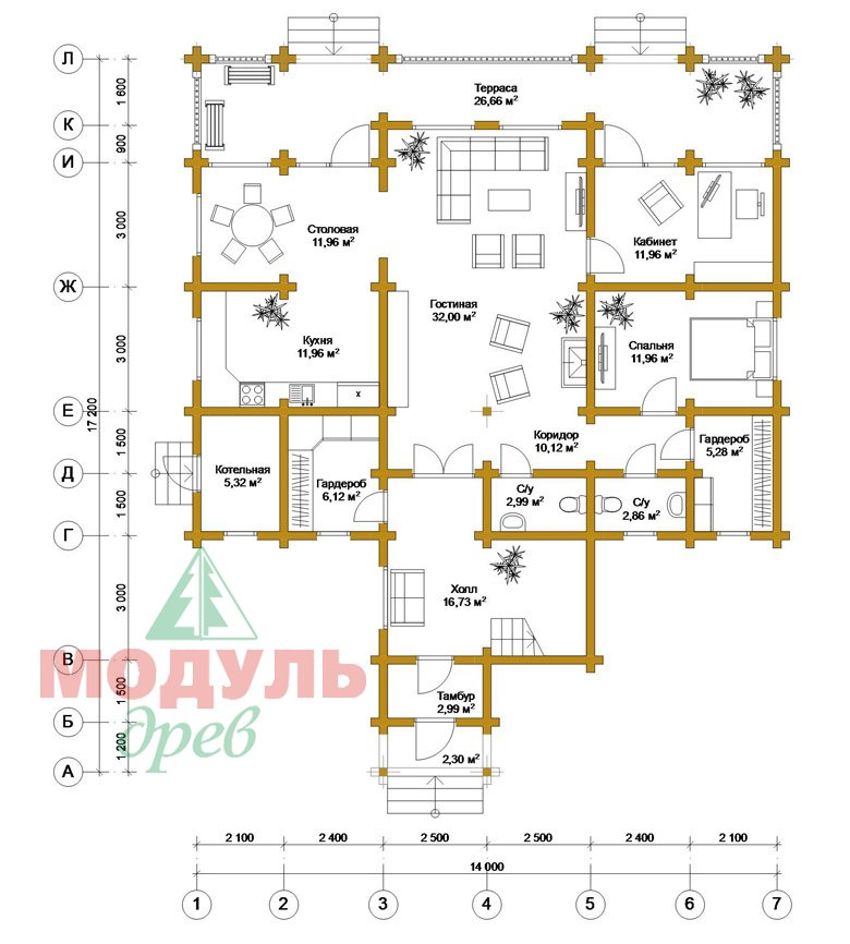 Загородный дом из бруса «Никольский» - планировка