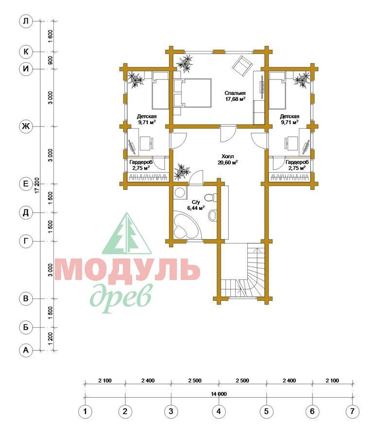 Загородный деревянный дом из бруса «Никольский» - планировка