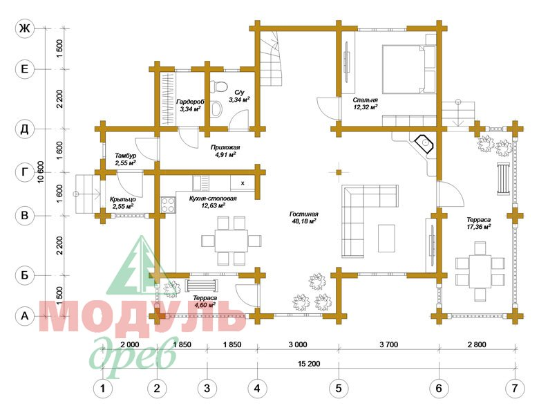 Дом из бруса «Новороссийск» - планировка 1