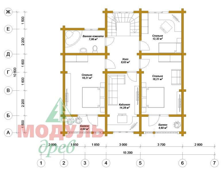 Проект дома из бруса «Новороссийск» - планировка 1