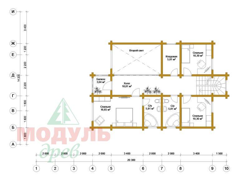 Проект дома из бруса «Октябрьск» - планировка 2