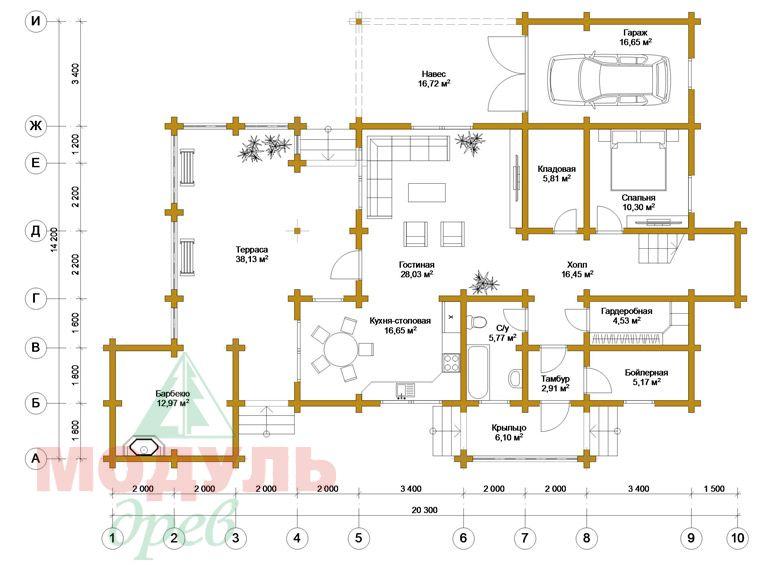 Проект дома из бруса «Октябрьск» - планировка