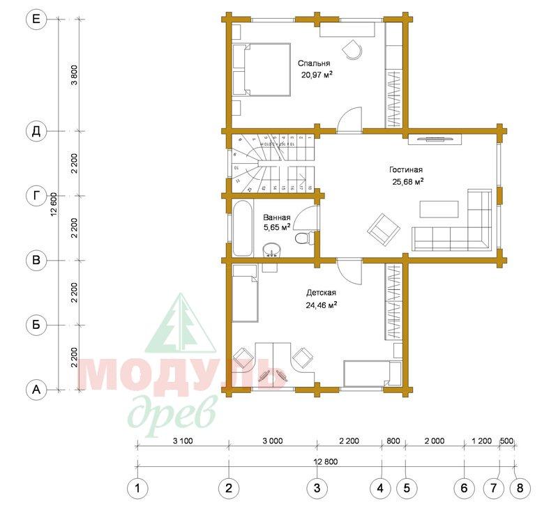 Дом из бруса «Орёл» - планировка 2