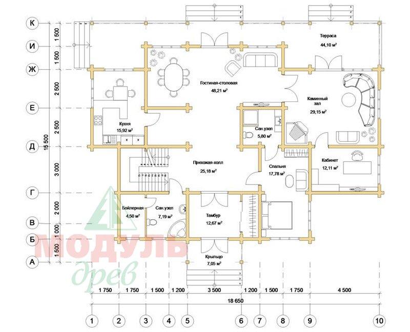 Проект дома из бруса «Орион» - планировка