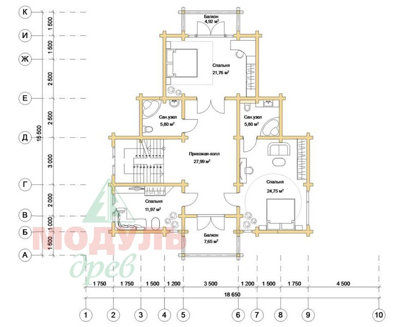 Проект дома из бруса «Орион» - планировка 2