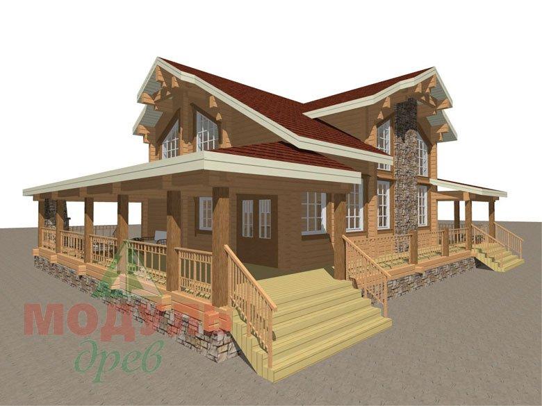 Деревянный дом из бруса «Отрадное» - макет 2