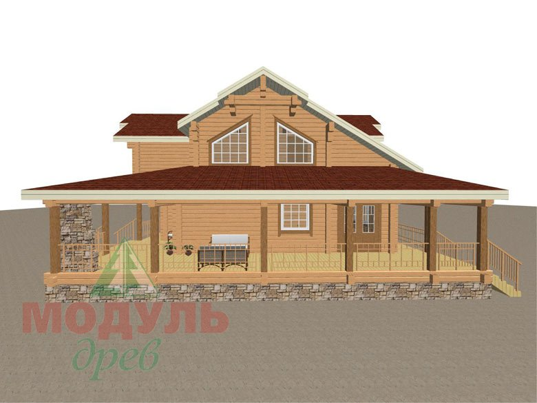 Деревянный дом из бруса «Отрадное» - макет 3