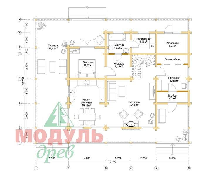 Деревянный дом из бруса «Отрадное» - планировка