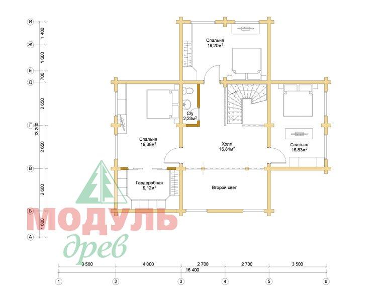 Деревянный дом из бруса «Отрадное» - планировка 2