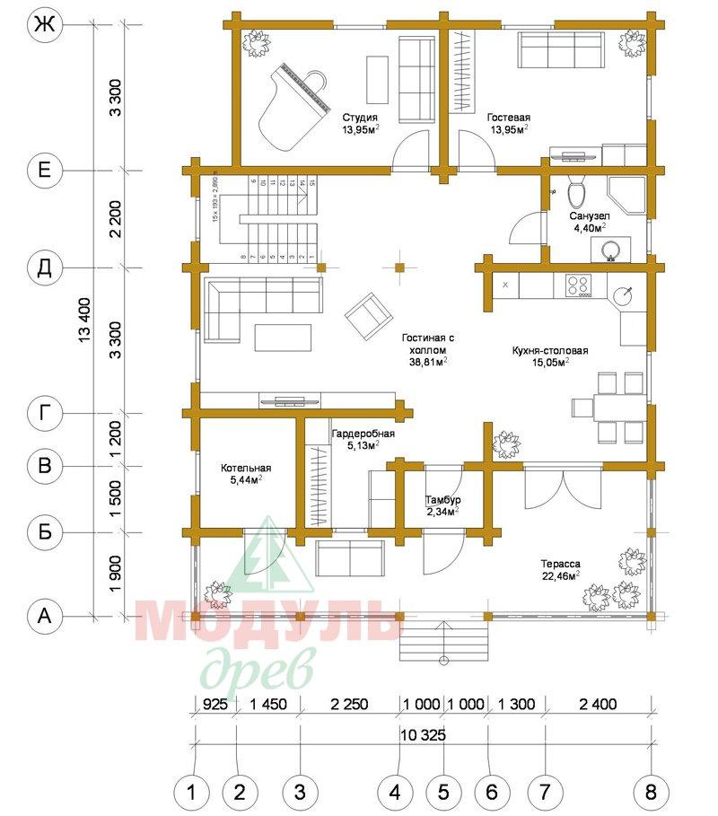 Деревянный брусовой дом «Переславль» - планировка 1