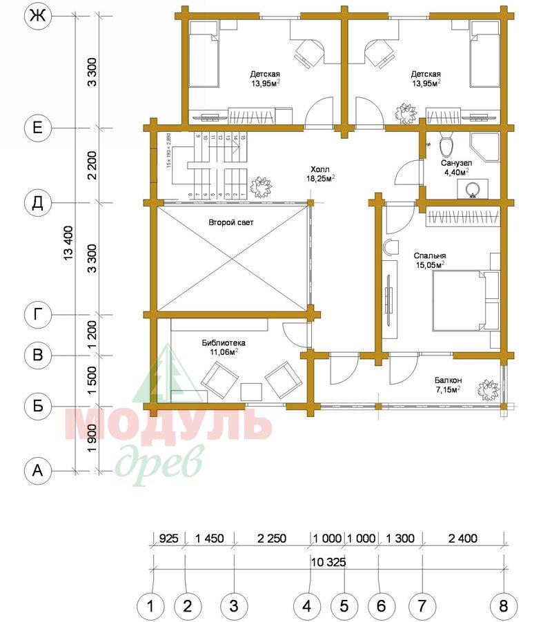 Деревянный брусовой дом «Переславль» - планировка 2