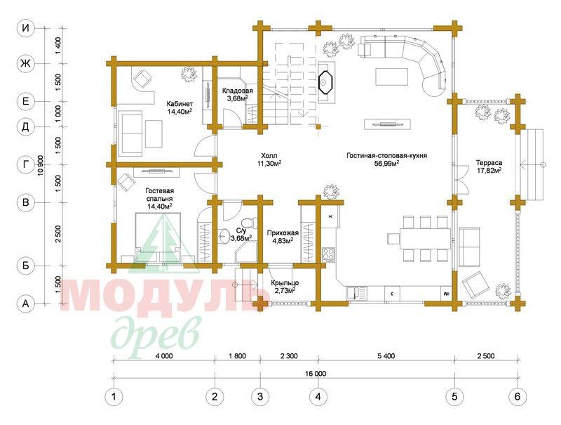Проект дома из бруса «Петрозаводск» - планировка