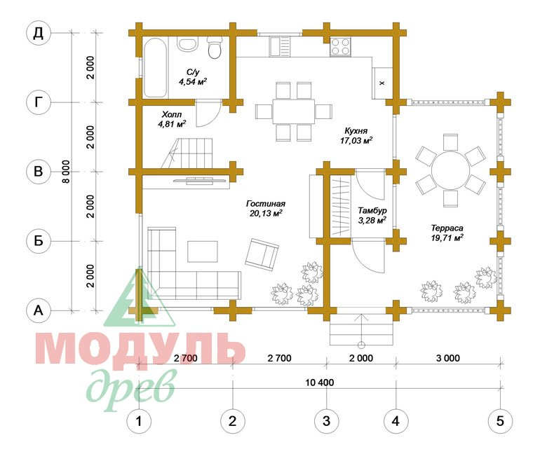 Проект дома из бруса «Псков» - Планировка 1