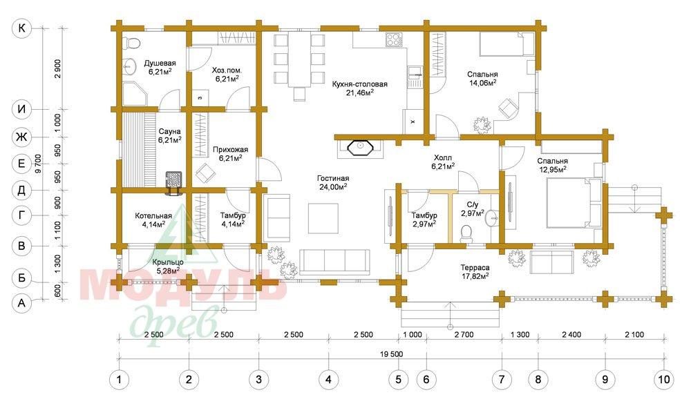 Проект дома из бруса «Пятигорск» - планировка