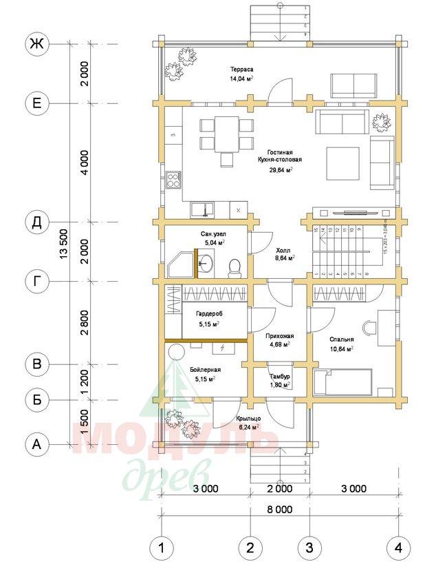 Дом из бруса «Рассказово» - планировка 1