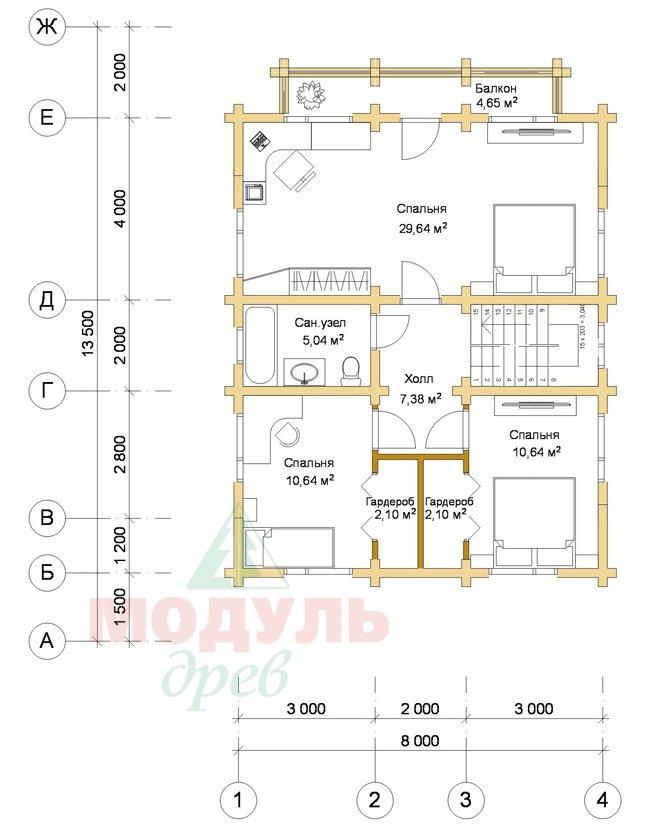 Дом из бруса «Рассказово» - планировка 2