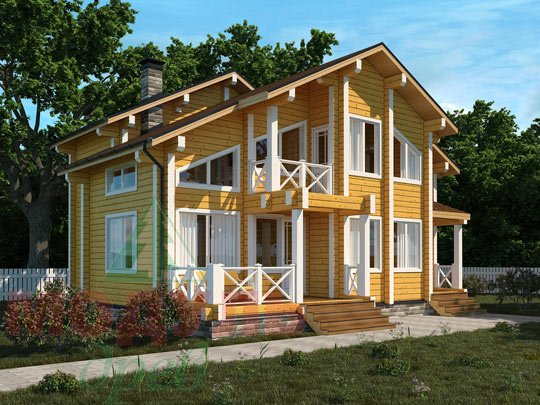 Проект деревянного дома из бруса «Ростов»
