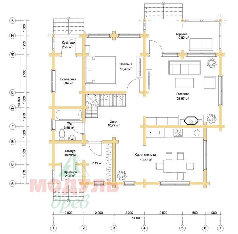Дом из бруса «Ростов» - планировка 1