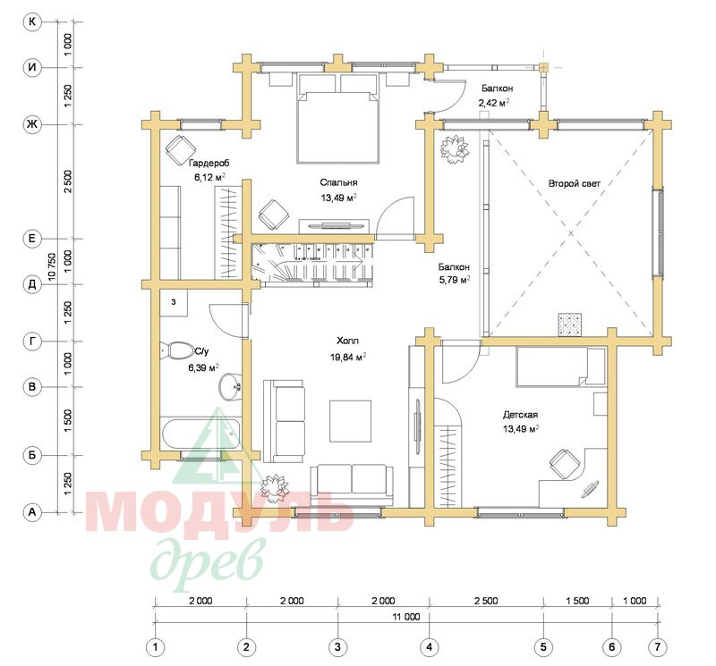 Проект дома из бруса «Ростов» - планировка 2