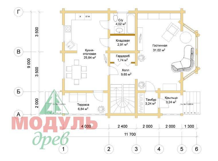 Дом из бруса «Садко» - планировка 1