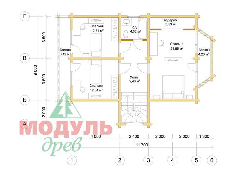 Проект дома из бруса «Садко» планировка 2