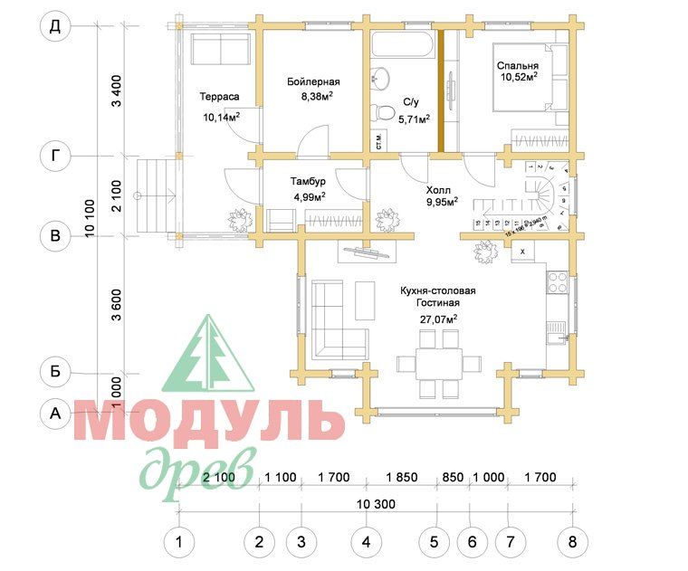 Проект дома из бруса «Серпухов» - Планировка 1
