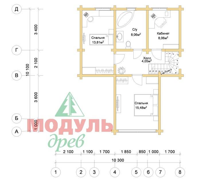 Дом из бруса «Серпухов» - Планировка 2