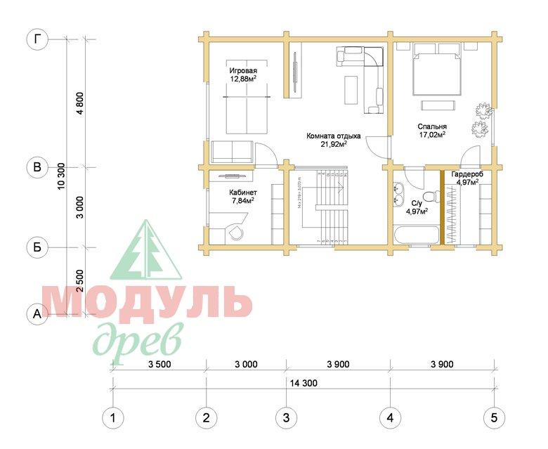 Дом из бруса «Шексна-1» - планировка 2
