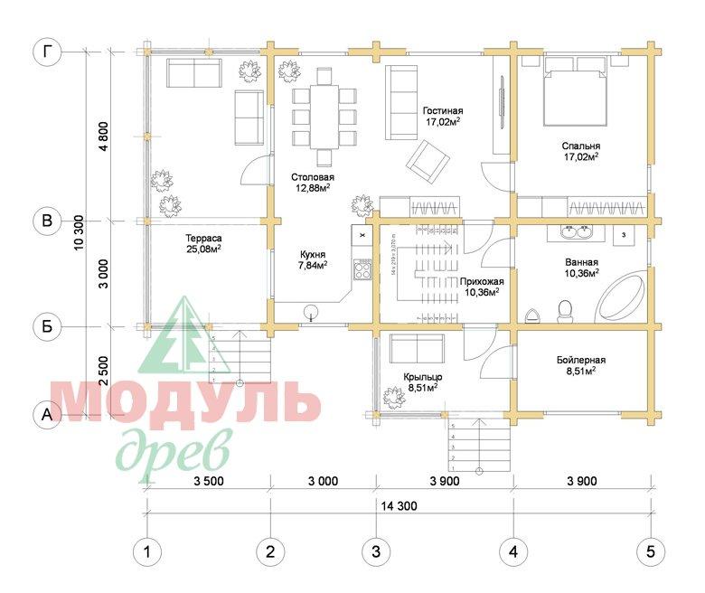 Дом из бруса «Шексна-1» - планировка 1