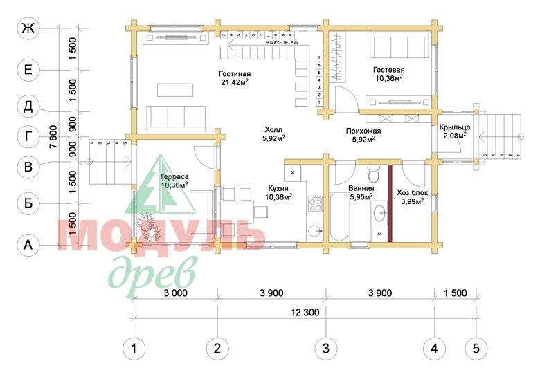 Дом из бруса «Шексна-2» - планировка 1