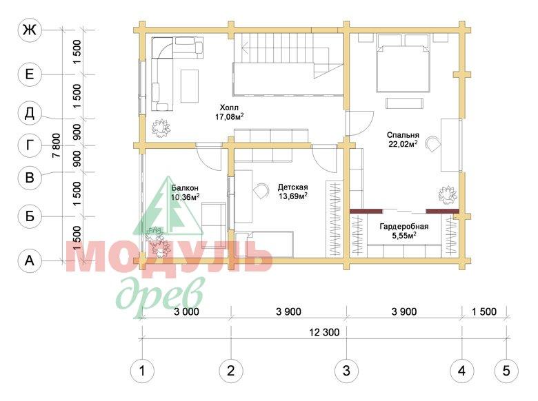 Дом из бруса «Шексна-2» - планировка 2