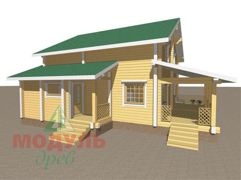 Проект дома из бруса «Шексна-3» - макет 1