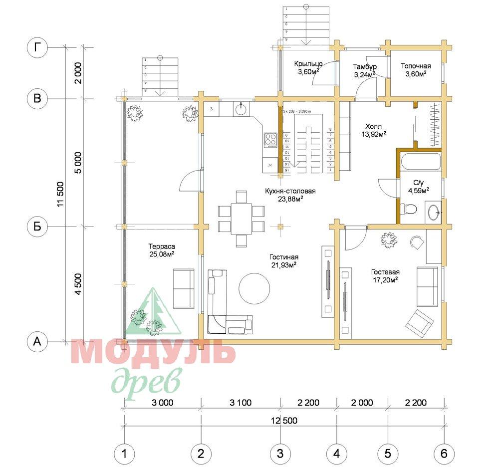 Дом из бруса «Шексна-3» - планировка 1