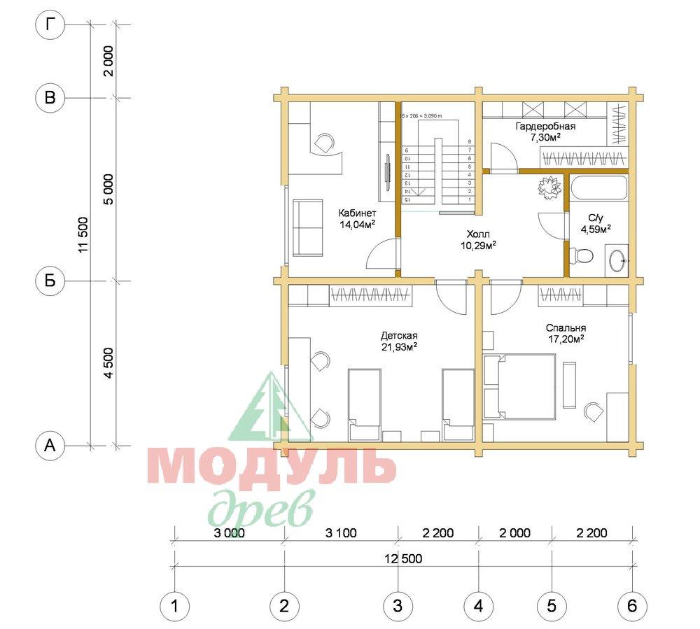 Дом из бруса «Шексна-3» - планировка 2