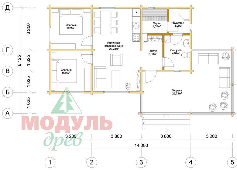 Планировка проекта дома из бруса «Сия»