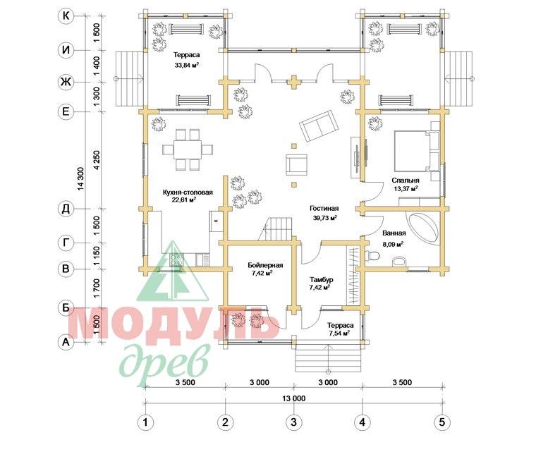 Загородный дом из бруса «Сколково» - планировка 1