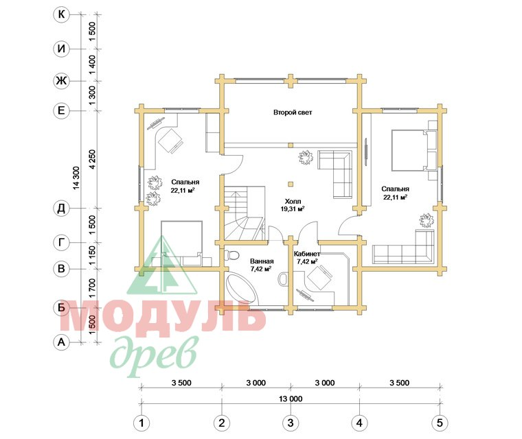 Проект дома из бруса «Сколково» - планировка 2