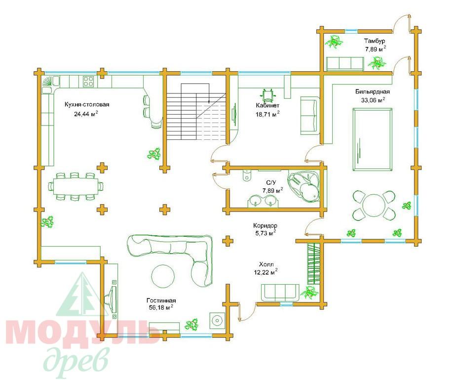 Проект дома из бруса«Сочи» - планировка 1