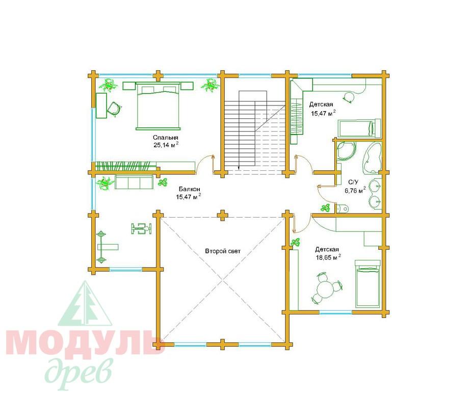 Проект дома из бруса«Сочи» - планировка 2