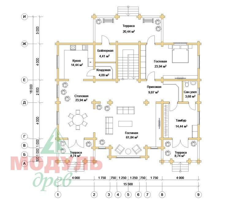 Дом из бруса «Совполье» - планировка 1