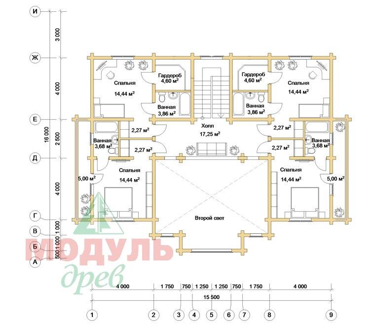 Дом из бруса «Совполье» - планировка 2