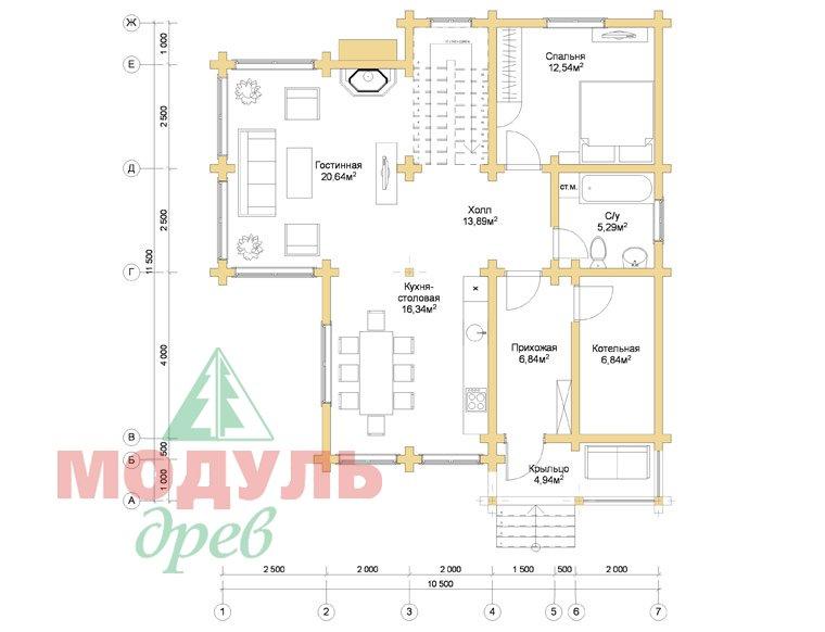 Дом из бруса «Стародуб» - планировка 1