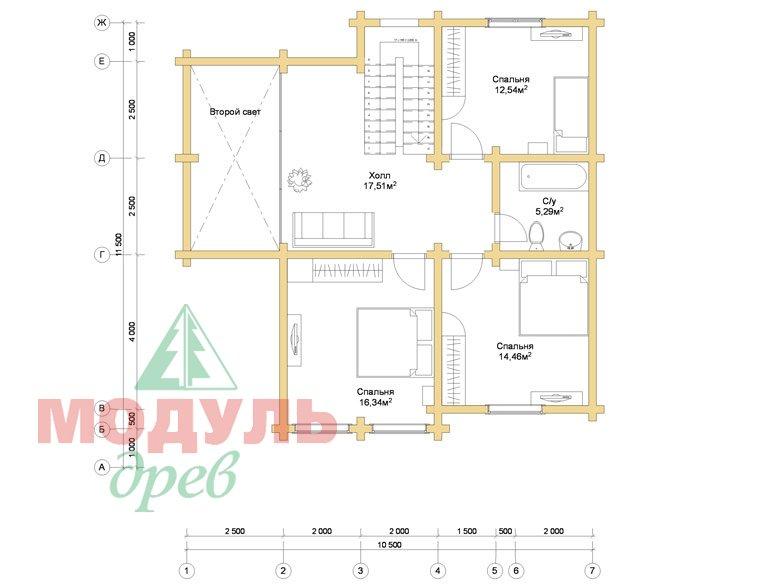 Проект дома из бруса «Стародуб» - планировка 2