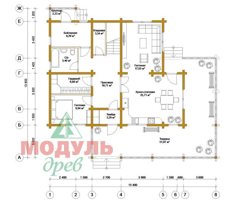 Деревянный дом из бруса «Ставрополь» - планировка
