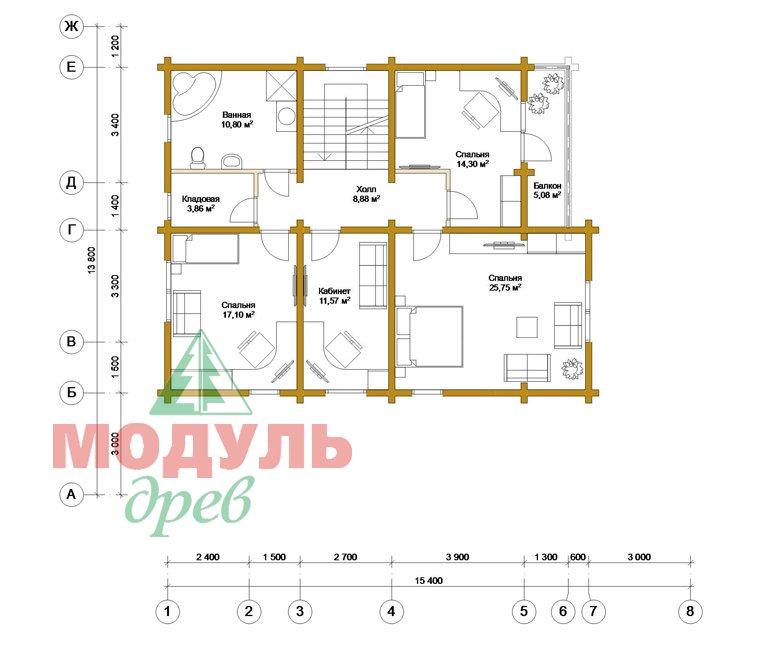 Деревянный дом из бруса «Ставрополь» - планировка 2