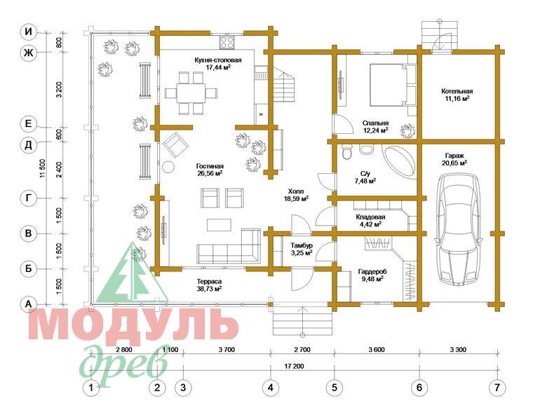 Дом из бруса «Судиславль» - планировка 1