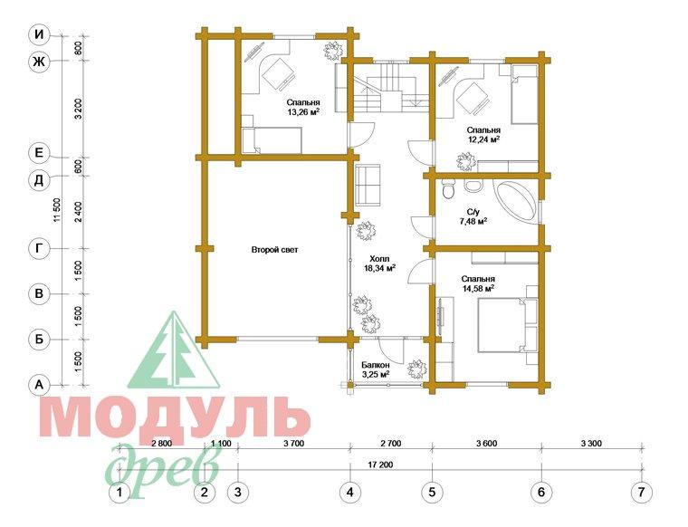 Дом из бруса «Судиславль» - планировка 2