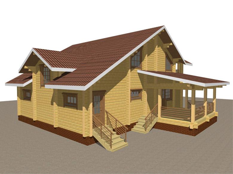 Проект деревянного дома из бруса «Суздаль» - макет 1