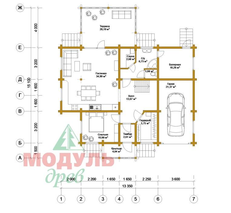 Деревянный дом из бруса «Суздаль» - планировка 1